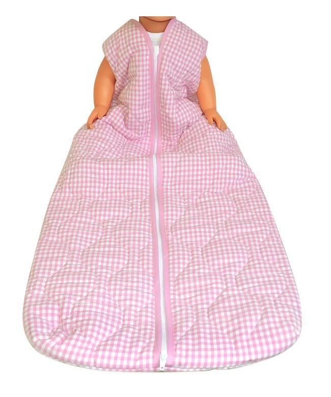 Großer Kinderschlafsack (winter) - Rosa kariert