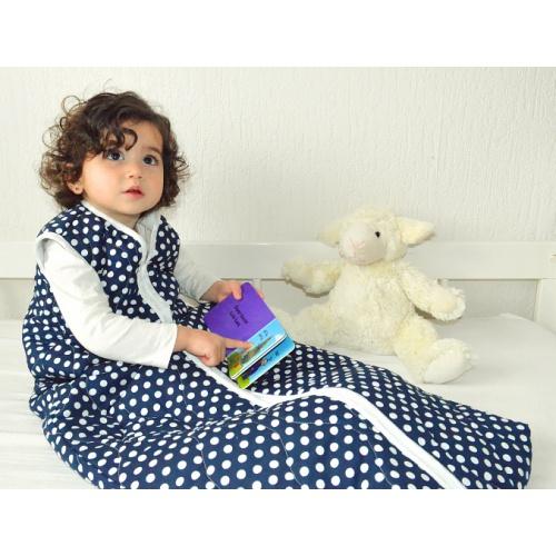 Kinderschlafsack (Sommer) - Tupfen Navy